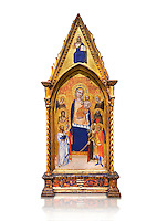 Gothic altarpiece of Madonna and Child by Niccolo di Tommaso, circa 1362-1367, tempera and gold leaf on wood.  National Museum of Catalan Art, Barcelona, Spain, inv no: MNAC  212809. Against a white background.