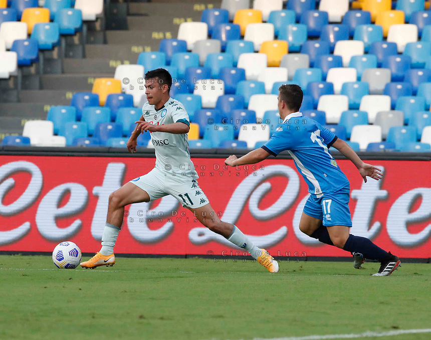 Hirving Lozano of Napoli during a friendly match Napoli - Pescara  at Stadio San Paoli in Naples