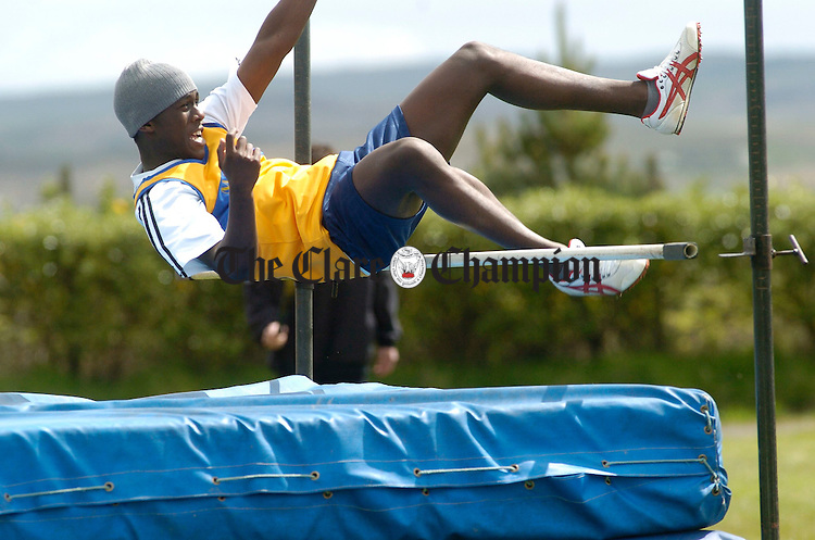 Lunga Balman of Marian AC clears the high jump during the Clare Juvenile Athletics championships in Mullagh. Photograph by John Kelly.