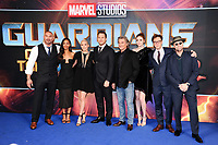 "Dave Bautista, Zoe Saldana, Pom Klementieff, Chris Pratt, Kurt Russell, Karen Gillan, director James Gunn and Michael Rooker<br /> at the ""Guardians of the Galaxy 2"" premiere held at the Hammersmith Apollo, London. <br /> <br /> <br /> ©Ash Knotek  D3257  24/04/2017"