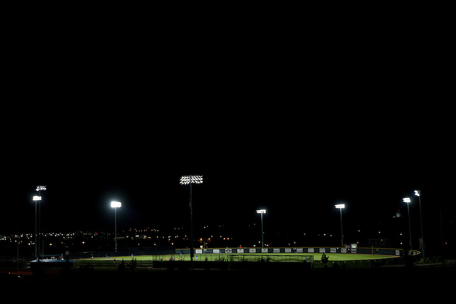Powers Field, home of Cheyenne Post 6 and its star outfielder, Brandon Nimmo, is illuminated for a game on Tuesday, June 21, 2011, in Cheyenne, Wyo. (Photo by James Brosher)