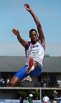 12 JUNE 2010: Christian Taylor of Florida flies through the air as he takes a jump in the Mens long jump during the Division I Men's and Women's Track and Field Championship held at Hayward Field on the University of Oregon campus in Eugene, OR.  Steve Dykes/NCAA Photos