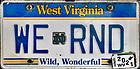 "June 6, 2021; West Virginia license plate ""WE RND"" (Photo by Matt Cashore/University of Notre Dame)"