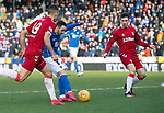 St Johnstone v Rangers…..23.02.20   McDiarmid Park   SPFL<br />Drey Wright's shot is blocked<br />Picture by Graeme Hart.<br />Copyright Perthshire Picture Agency<br />Tel: 01738 623350  Mobile: 07990 594431