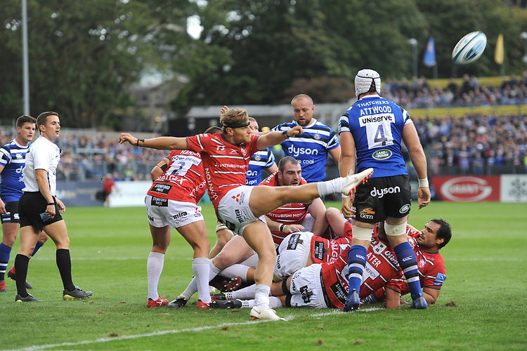 Callum Braley of Gloucester Rugby clears from behind his scrum during the Gallagher Premiership Rugby match between Bath Rugby and Gloucester Rugby at The Recreation Ground on Saturday 8th September 2018 (Photo by Rob Munro/Stewart Communications)