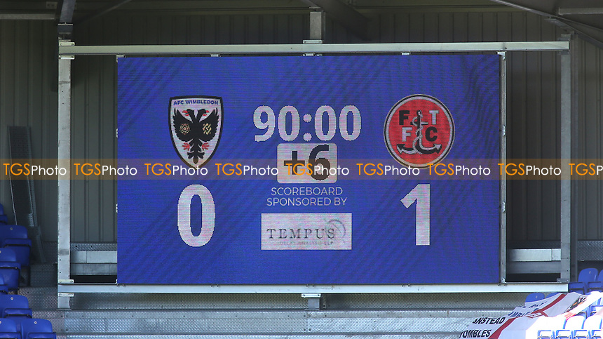 The scoreboard shows Fleetwood Town win the match 1-0 during AFC Wimbledon vs Fleetwood Town, Sky Bet EFL League 1 Football at Plough Lane on 5th April 2021
