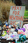 NEWTOWN, CT - 17 December 2012-121712EC11--    A memorial of teddy bears and flowers surround a tree at the intersection of Sugar Street and Main Street in Newtown Monday, right near the entrance to Newtown Village Cemetery.  6-year-old Jack Pinto was laid to rest there Monday.  Erin Covey Republican-American.