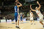 Real Madrid´s Felipe Reyes and Anadolu Efes´s Dario Saric during 2014-15 Euroleague Basketball match between Real Madrid and Anadolu Efes at Palacio de los Deportes stadium in Madrid, Spain. December 18, 2014. (ALTERPHOTOS/Luis Fernandez)
