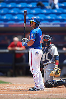 St. Lucie Mets catcher Lednier Ricardo (15) at bat during a game against the Brevard County Manatees on April 17, 2016 at Tradition Field in Port St. Lucie, Florida.  Brevard County defeated St. Lucie 13-0.  (Mike Janes/Four Seam Images)