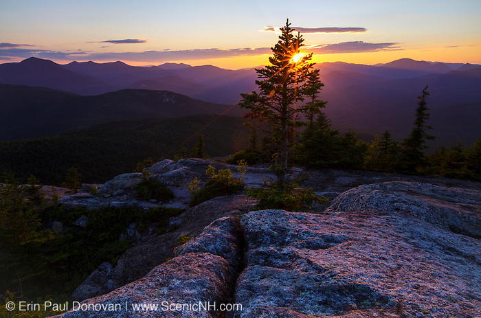 Sunset from Middle Sister Mountain in Albany, New Hampshire during the summer months.