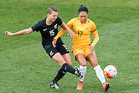 June 4, 2016: MEIKAYLA MOORE (15) of New Zealand and KYAH SIMON (17) of Australia compete for the ball during an international friendly match between the Australian Matildas and the New Zealand Football Ferns as part of the teams' preparation for the Rio Olympic Games at Morshead Park in Ballarat. Photo Sydney Low