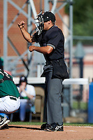 Umpire Mike Wisemann during the first game of a double header between the Jamestown Jammers and Hudson Valley Renegades at Russell Diethrick Park on August 6, 2012 in Jamestown, New York.  Hudson Valley defeated Jamestown 4-2.  (Mike Janes/Four Seam Images)
