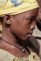 Young Djerma (Zarma) Girl with Traditional Facial Scarification, Hole for Nose Pin, Tonkassare, Niger.