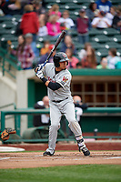 Wisconsin Timber Rattlers right fielder Joantgel Segovia (5) at bat during a game against the Fort Wayne TinCaps on May 10, 2017 at Parkview Field in Fort Wayne, Indiana.  Fort Wayne defeated Wisconsin 3-2.  (Mike Janes/Four Seam Images)