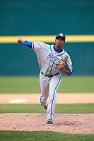 Hartford Yard Goats relief pitcher Johendi Jiminian (54) delivers a pitch during a game against the Binghamton Rumble Ponies on July 9, 2017 at NYSEG Stadium in Binghamton, New York.  Hartford defeated Binghamton 7-3.  (Mike Janes/Four Seam Images)