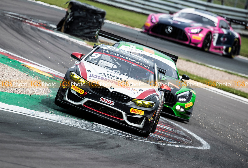 Chris Salkeld & Andrew Gordon-Colebrooke, BMW M4 GT4, Century Motorsport about to be passed by race winners Richard Neary & Sam Neary, Mercedes AMG GT3, Team Abba Racing out of Fogarty Esses during the British GT & F3 Championship on 11th July 2021