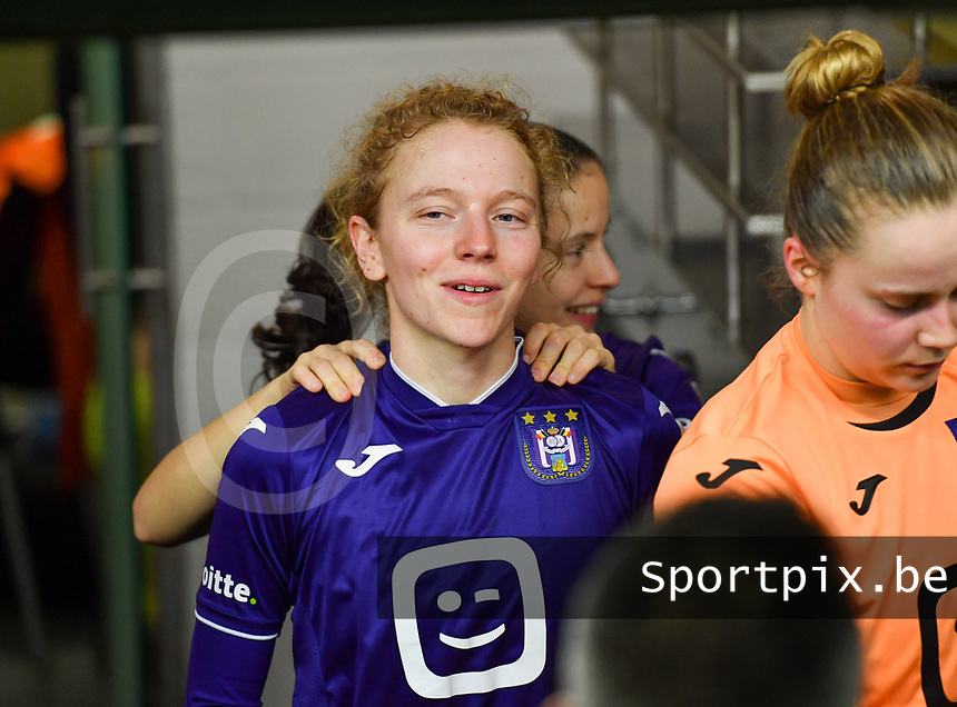 Charlotte Tison (20) of Anderlecht pictured during a female soccer game between RSC Anderlecht Dames and Sporting Charleroi on the 13 th matchday of the 2020 - 2021 season of Belgian Womens Super League , friday 5 th of February 2021  in Tubize , Belgium . PHOTO SPORTPIX.BE | SPP | DAVID CATRY