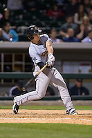 Tyler Austin (17) of the Scranton\Wilkes-Barre RailRiders takes his swings against the Charlotte Knights at BB&T BallPark on May 1, 2015 in Charlotte, North Carolina.  The RailRiders defeated the Knights 5-4.  (Brian Westerholt/Four Seam Images)