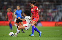 Saint Paul, MN - SEPTEMBER 03: Dolores Silva #14 of the Portugal and Carli Lloyd #10 during their 2019 Victory Tour match versus Portugal at Allianz Field, on September 03, 2019 in Saint Paul, Minnesota.