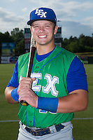 Lexington Legends catcher Chase Vallot (15) poses for a photo prior to the game against the Kannapolis Intimidators at CMC-Northeast Stadium on May 26, 2015 in Kannapolis, North Carolina.  The Intimidators defeated the Legends 4-1.  (Brian Westerholt/Four Seam Images)