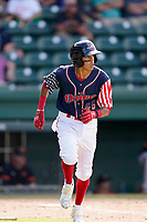 Third baseman Ricardo Cubillan (48) of the Greenville Drive in a game against the Aberdeen IronBirds on Sunday, July 11, 2021, at Fluor Field at the West End in Greenville, South Carolina. (Tom Priddy/Four Seam Images)