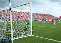07 August 2010: Chivas USA forward Giancario Maldonado #20 scores on a penalty kick during a game between Chivas USA and Toronto FC at BMO Field in Toronto..Toronto FC won 2-1.