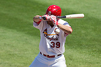 Jaime Garcia (39) of the St. Louis Cardinals is hit on his throwing elbow while at bat in the second inning during a rehab game with the Springfield Cardinals against the Tulsa Drillers at Hammons Field on May 4, 2014 in Springfield, Missouri. Garcia would be removed from the game after being hit. (David Welker/Four Seam Images)