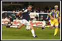 31/8/02       Collect Pic : James Stewart                     .File Name : stewart-falkirk v qots 19.LEE MILLER TAKES A SHOT AT GOAL.....James Stewart Photo Agency, 19 Carronlea Drive, Falkirk. FK2 8DN      Vat Reg No. 607 6932 25.Office : +44 (0)1324 570906     .Mobile : + 44 (0)7721 416997.Fax     :  +44 (0)1324 570906.E-mail : jim@jspa.co.uk.If you require further information then contact Jim Stewart on any of the numbers above.........