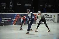 SPEEDSKATING: DORDRECHT: 05-03-2021, ISU World Short Track Speedskating Championships, QF 1500m Men, Vladislav Bykanov (ISR), Shaolin Sandor Liu (HUN), Nico Andermann (AUT), ©photo Martin de Jong