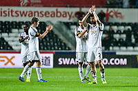 Thursday  03 October  2013  Pictured:( L-R ) Nathan Dyer Ben Davies Alvaro Vasquez and Jordi Amat applaud fans as thy leave the field<br /> Re:UEFA Europa League, Swansea City FC vs FC St.Gallen,  at the Liberty Staduim Swansea