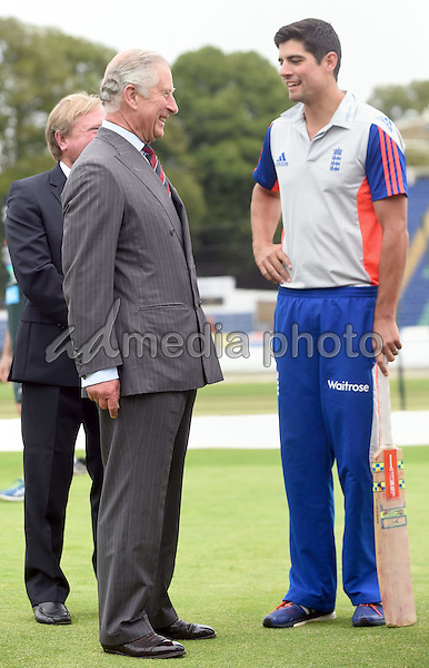 06 July 2015 - Cardiff, Wales - Prince Charles Prince of Wales meets England cricket captain Alastair Cook during a visit to The SSE SWALEC Stadium. Photo Credit: Alpha Press/AdMedia