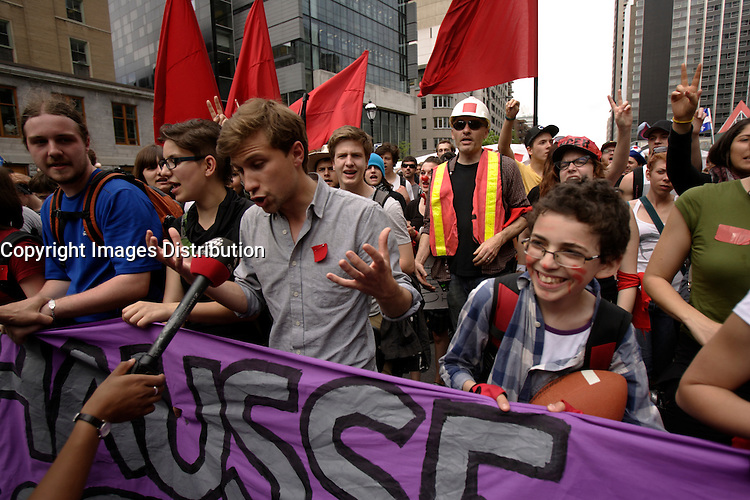 Montreal (Qc) CANADA - May 22, 2012 file photo -  Gabriel Nadeau-Dubois talk to media while about 120 000 Quebecers demonstrate peacefully in downtown Montreal to mark 100 days of student strike against the tuition fees hike imposed the Liberal Governement of Jean Charest.