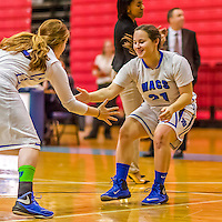 24 November 2015: Yeshiva University Maccabee Guard Ester Kerzner, a Senior from Houston, TX, is introduced prior to a game against the College of Mount Saint Vincent Dolphins at the Baruch College ARC Arena Gymnasium, in New York, NY. The Dolphins defeated the Maccabees 67-30 in the NCAA Division III Women's Basketball Skyline matchup. Mandatory Credit: Ed Wolfstein Photo *** RAW (NEF) Image File Available ***