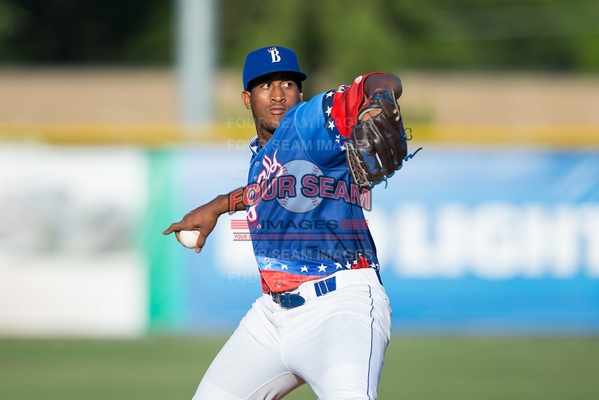 Burlington Royals starting pitcher Ofreidy Gomez (66) in action against the Bluefield Blue Jays at Burlington Athletic Stadium on June 26, 2016 in Burlington, North Carolina.  The Blue Jays defeated the Royals 4-3.  (Brian Westerholt/Four Seam Images)