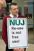 NUJ General Secretary Jeremy Dear supports an NUJ protest outside the offices of  Guardian News & Media against the company's plans to stop paying freelance photographers for re-use of their pictures.