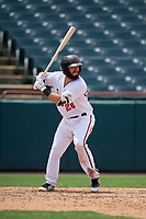 Bowie Baysox Brett Cumberland (28) at bat during an Eastern League game against the Akron RubberDucks on May 30, 2019 at Prince George's Stadium in Bowie, Maryland.  Akron defeated Bowie 9-5.  (Mike Janes/Four Seam Images)