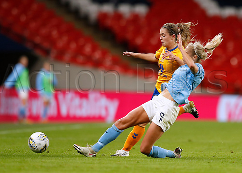 1st November 2020; Wembley Stadium, London, England; Womens FA Cup Final Football, Everton Womens versus Manchester City Womens; Simone Magill of Everton Women is tackled by Steph Houghton of Manchester City Women