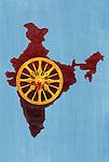 Illustrative of konark wheel against Indian map