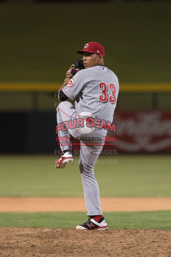 AZL Reds relief pitcher Alberto Gonzalez (33) delivers a pitch during an Arizona League game against the AZL Cubs 1 at Sloan Park on July 13, 2018 in Mesa, Arizona. The AZL Cubs 1 defeated the AZL Reds 4-1. (Zachary Lucy/Four Seam Images)