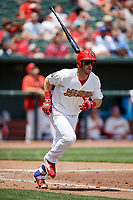 Memphis Redbirds third baseman Patrick Wisdom (5) runs to first base during a game against the Iowa Cubs on May 29, 2017 at AutoZone Park in Memphis, Tennessee.  Memphis defeated Iowa 6-5.  (Mike Janes/Four Seam Images)