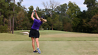 CHAPEL HILL, NC - OCTOBER 13: Anna Morgan of Furman University tees off at UNC Finley Golf Course on October 13, 2019 in Chapel Hill, North Carolina.