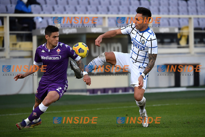 Lucas Martinez Quarta of ACF Fiorentinaand Lautaro Martinez of FC Internazionale compete for the ball <br /> during the Italy Cup round of 16 football match between ACF Fiorentina and FC Internazionale at Artemio Franchi stadium in Firenze (Italy), January 13th, 2021. Photo Andrea Staccioli / Insidefoto