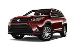 Stock pictures of low aggressive front three quarter view of 2018 Toyota Highlander SE 5 Door SUV Low Aggressive