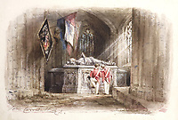BNPS.co.uk (01202 558833)<br /> Pic: Gorringes/BNPS<br /> <br /> Pictured: One of the watercolours shows two soldiers looking on in shared contemplation over the tomb of an English knight.<br /> <br /> An old poetry book could sell for £150,000 after it was found to contain lost artwork from the famous Romantic landscape painter John Constable.<br /> <br /> An auctioneer was doing a routine valuation at a countryside cottage in south east England when he spotted the book in a bookcase.<br /> <br /> He opened the 1836 illustrated edition of poet Thomas Gray's Elegy Written in a Country Churchyard and was stunned to find three watercolours by Constable fastened to pages inside, alongside a hand-written letter and ink sketch.<br /> <br /> They refer to scenes the English artist was asked to illustrate for the re-printing of the popular 1750 poem about mortality and remembrance.<br /> <br /> The lady vendor, who had no idea of the book's contents, is now selling it with auctioneers Gorringe's, of Lewes, east Sussex.