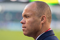 PHILADELPHIA, PA - AUGUST 29: Earnie Stewart of the United States talks on the field prior to a game between Portugal and the USWNT at Lincoln Financial Field on August 29, 2019 in Philadelphia, PA.