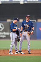 Lakeland Flying Tigers shortstop Gage Workman (27) talks with second baseman Kody Clemens (4) during a game against the Tampa Tarpons on June 1, 2021 at George M. Steinbrenner Field in Tampa, Florida.  (Mike Janes/Four Seam Images)