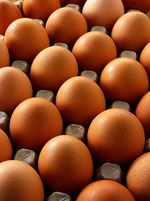 Tray of fresh Burford Brown free range organic Eggs