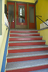 Front Steps up to red glass door