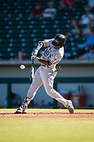 Peoria Javelinas shortstop Lucius Fox (5), of the Tampa Bay Rays organization, swings at a pitch during an Arizona Fall League game against the Mesa Solar Sox at Sloan Park on November 6, 2018 in Mesa, Arizona. Mesa defeated Peoria 7-5 . (Zachary Lucy/Four Seam Images)