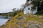 Cabin on point in West Sound of Orcas Island, Washington.
